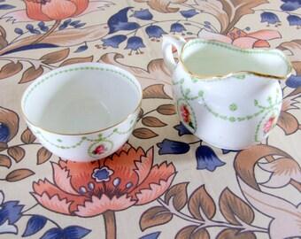 Vintage Royal Doulton Green Garland Design Milk Jug and Sugar Bowl WORLD WIDE SHIPPING