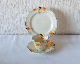 Art Deco Crown Ducal Sunburst  1930's Trio Cup Saucer And Side Plate