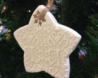 Rustic Salt Dough Christmas Star Ornament