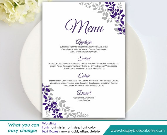 diy printable wedding menu template instant download. Black Bedroom Furniture Sets. Home Design Ideas