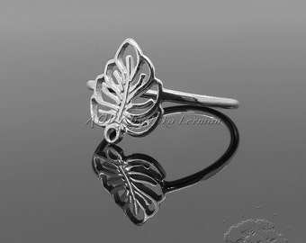 1pcs 925 Sterling Silver Leaf Ring with Loop, Made in Israel, US Size 8, code:2066ws, Delicate and Elegant