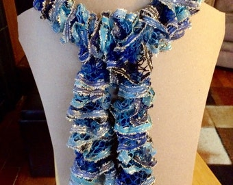 Sparkly Blue and Black Ruffle Scarf