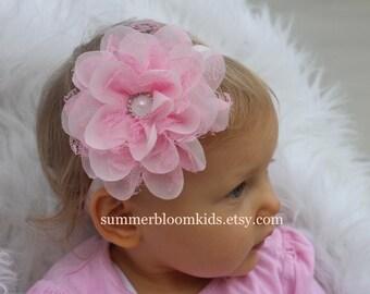 Pink flower girl headband, pink headband, girls light pink toddler headband, pink elastic headband, Infant headband , headband photo prop
