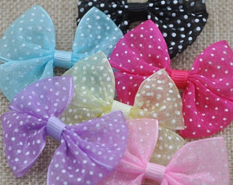 24 pcs Organza Ribbon Bows Flowers DIY/Wedding/Applique A061