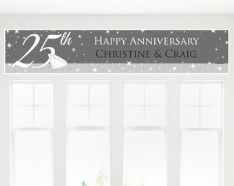 25th Anniversary Party Banner - Custom Anniversary Party Decorations