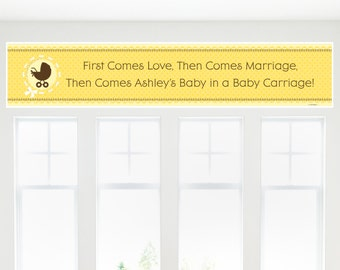 Neutral Carriage Banner - Custom Baby Shower Party Decorations