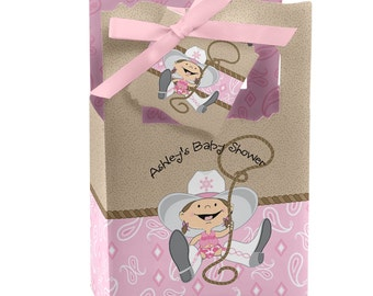 Little Cowgirl - Western Favor Boxes - Custom Baby Shower and Birthday Party Supplies - Set of 12