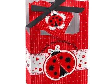 Ladybug Favor Boxes - Custom Baby Shower and Birthday Party Supplies - Set of 12