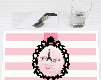Set of 12 Paris Placemats - Personalized Baby Shower or Birthday Party Supplies