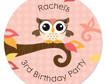 Owl Girl - 24 Owl Circle Stickers - Personalized Baby Shower and Birthday Party Supplies