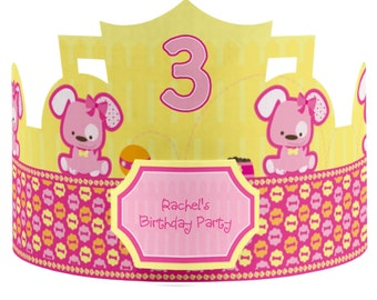 8 Custom Pink Girl Puppy Birthday Party Hat - Custom Party Supplies - 8 Count