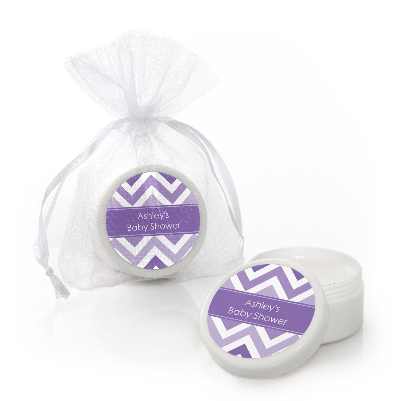 chevron purple lip balm party favors custom baby shower