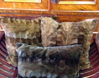 New Natural Mahogany sheared mink pillow 17x17 . These may also be custom made