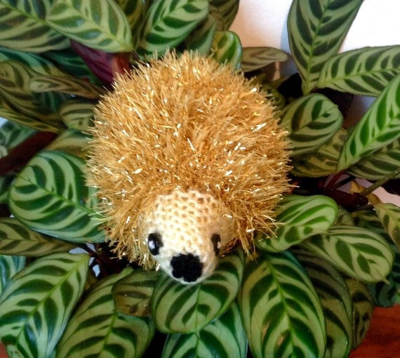 Sparkly Hedgehog Knitting Pattern : Sparkly Hedgehog Ornament. Knitted Tinsel Hedgehog by ...
