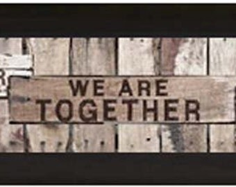 Wherever We Are Together That Is Home Brown Wood Framed Art Picture 11x36""