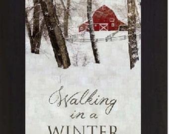 "Walking In A Winter Wonderland Barn Winter Snow Framed Art Picture 13x22"""