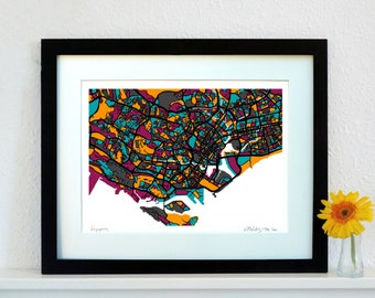 Singapore Art Map - Limited Edition Contemporary Giclée Print
