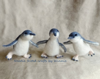 Needle felted Australia Penguins set of 3 OOAK The Worlds Smallest Penguins in Phillip Island
