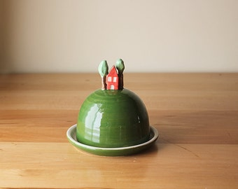 Ready to ship: Ceramic House on a Hill Butter Dish