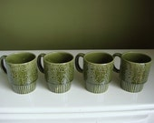 Vintage Avocado Green Coffee/Tea Mugs w/ Flowers - Set of 4 - Made in Japan - Epsteam