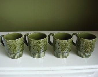 SALE-Vintage Avocado Green Mugs - Stacking Mugs - Set of 4 - Made in Japan