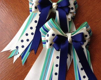 Horse Show Hair bows/Short Stirrup, Pony Hunters, Leadline/blue green cream