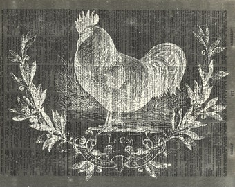 Rooster Blackboard art print. Mother's Day Gift. Vintage dictionary page art print. Print on book page.
