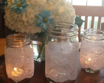 Ivory Lace Mason Jar Covers/Sleeves
