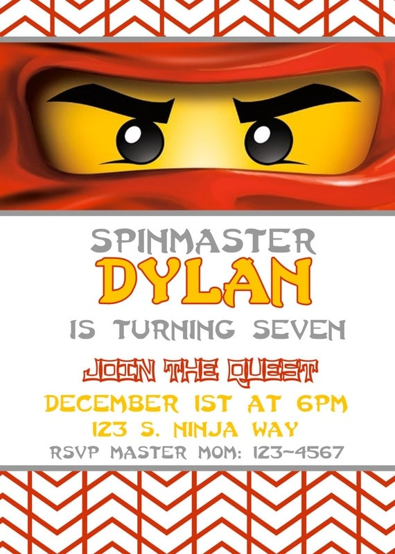 Lego Ninjago Birthday Party InvitationPrintable FileRed – Ninjago Party Invitations