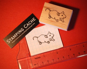 Hand carved rubber stamp - mouse design.