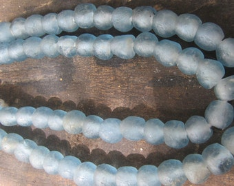 """African recycled glass beads, 8 mm.diam., 1 strand, 16"""" (41 cm.), 50 beads, light blue"""