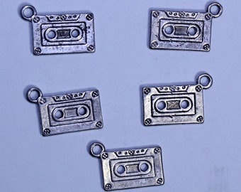 Silver Tape Charm, Vintage Style Cassette Tape Charm, Vintage Music Charm, Cassette Tape Charm