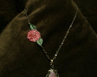 Rose and Pink Amethyst Leather Necklace