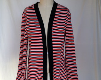Vintage Red White and Black Striped Cardigan / XL / Polyester