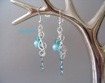Turquoise Jewelry fancy earrings note key musical ground