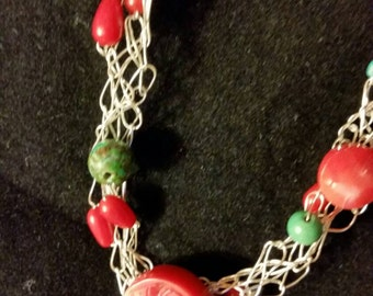 Wire crochet with red coral and turquoise choker.