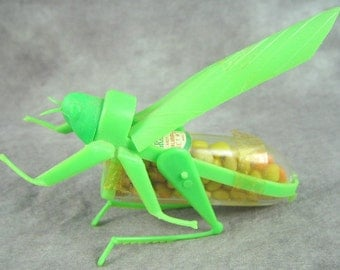 Vintage Grasshopper CANDY CONTAINER Poseable KOBITO Easter Halloween Insect Mechanical