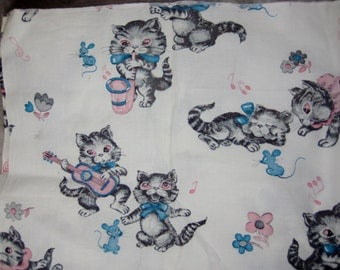 """1950s Children's Fabric Swatch - Kittens and Mice Playing Musical Instruments - 34"""" x 14"""" - Cats"""