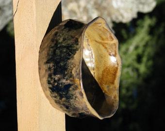 Ceramic/clay bowl, rustic look - black/brown, hand-built, 28oz