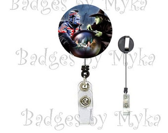 Retractable ID Badge Holder - Wicked Witch and Flying Monkey