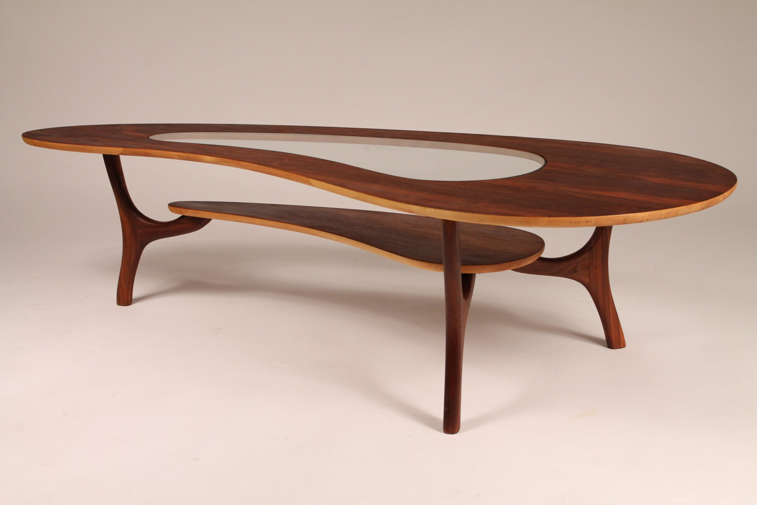 1960 Walnut Coffee Table Veneer Kidney Shaped With Center Glass Top Fully Restored Haute