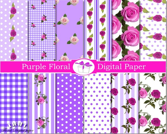 Purple flower digital paper floral decor Shabby chic digital paper Floral decal Pink Rose scrapbook paper flowers decals Floral background
