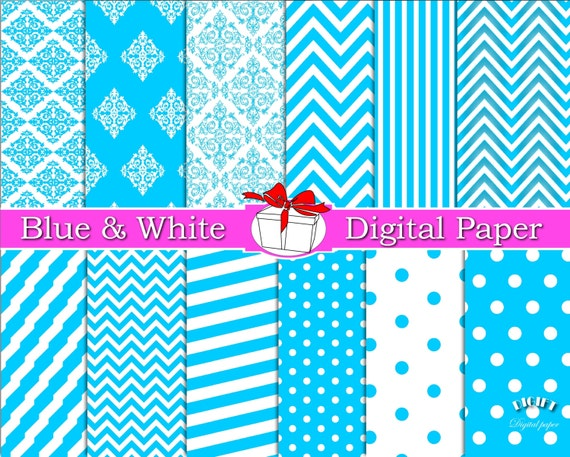 Light Blue Digital Paper Blue Chevron Blue Polka Dot Blue Damask Blue Stripe Baby blue decorations something Blue and White digital paper