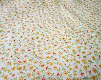 "Lovely tiny floral print on pale yellow 100% cotton fabric ~ by half yard (45"" Wide)"