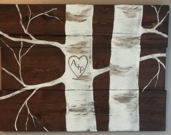 Hand painted aspen tree reclaimed wood sign..personalize with your initials. Great wedding or anniversary gift or alternative to guest book