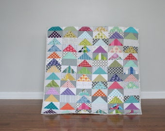 Baby girl flying geese patchwork quilt