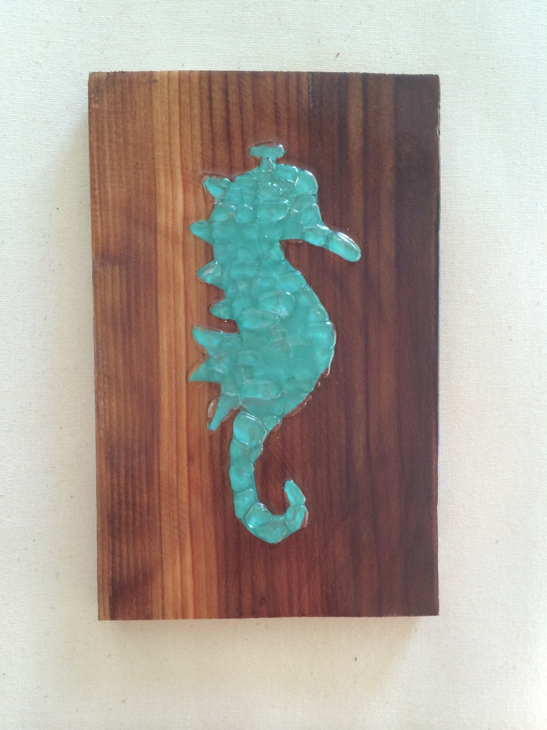 Sea glass art seahorse wall hanging sea glass mosaic beach for Glass wall art
