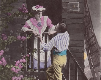 Valentine's day  vintage postcard.Romantic lovers post card .