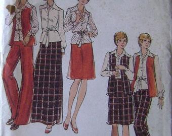 VINTAGE Butterick Pattern 3327 Half Size Blouse, Vest, Skirt & Pants