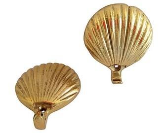 Midcentury Brass Shell Hooks, Pair